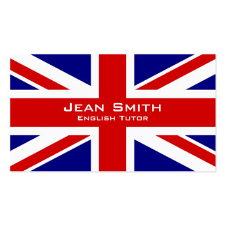 English Tutor / English Teacher With UK Flag Pack Of Standard Business Cards