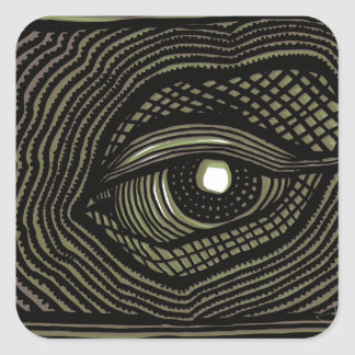 Engraved Eye Square Sticker