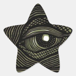 Engraved Eye Star Sticker