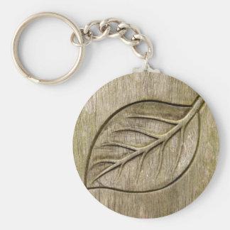 Engraved leaf key ring