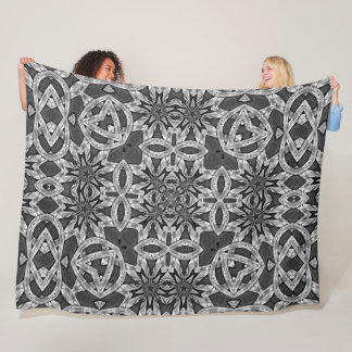 Engraved Silver Masons Dragon Knight Mandala Quilt Fleece Blanket