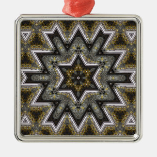 engraved star metal ornament