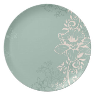 Engraved Swirly Daffodils Plate
