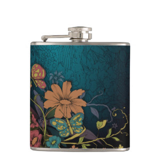 Engraved Wildflowers Hip Flask