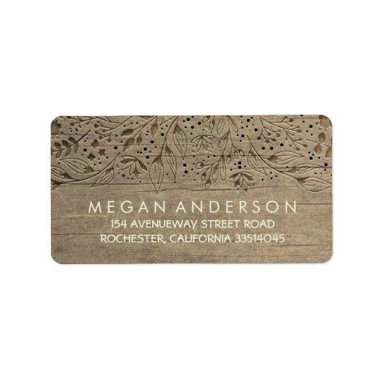 Engraved Wood Flowers Rustic Wedding Address Label