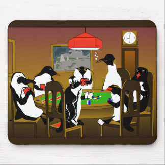 enguins can play poker too mouse pad