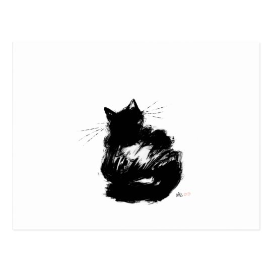 Enigmatic Black Cat Postcard