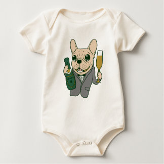 Enjoy Champagne with Frenchie at Your Celebration Baby Bodysuit
