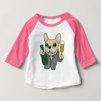 Enjoy Champagne with Frenchie at Your Celebration Baby T-Shirt