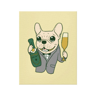 Enjoy Champagne with Frenchie at Your Celebration Canvas Print