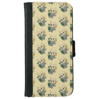 Enjoy Champagne with Frenchie at Your Celebration iPhone 6 Wallet Case