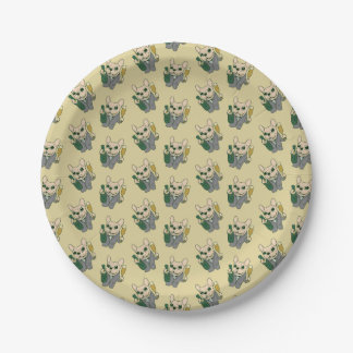 Enjoy Champagne with Frenchie at Your Celebration Paper Plate