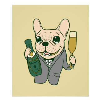 Enjoy Champagne with Frenchie at Your Celebration Photo Print
