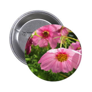 enjoy cheerful pink wildflowers pinback button