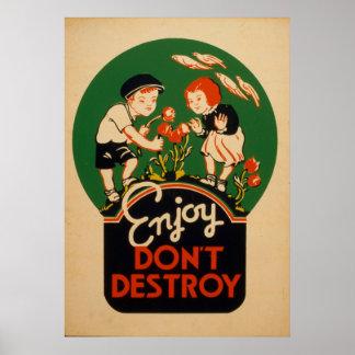 Enjoy Dont Destroy Go Green Earth Vintage Poster