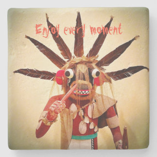 """""""Enjoy Every Moment"""" Quote Funny Cute Face Photo Stone Coaster"""