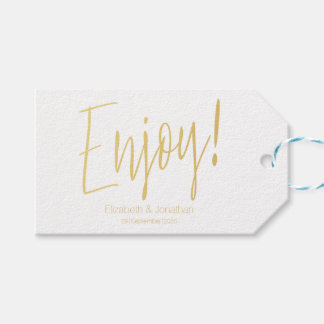 """Enjoy"" Gold Calligraphy Wedding Favor Tag"