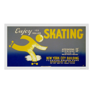 Enjoy Ice Roller Skating 1938 WPA Poster