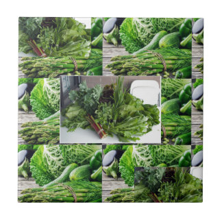 ENJOY LEAFY GREEN VEGETABLES HEALTHY CHOICES SMALL SQUARE TILE