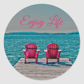 Enjoy Life At The Cottage Classic Round Sticker