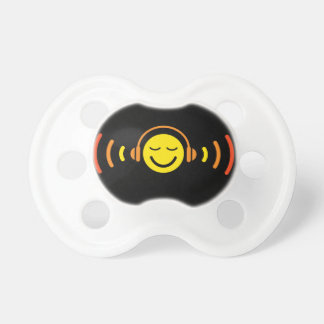 Enjoy music yellow DJ smiley face with headphones Baby Pacifier