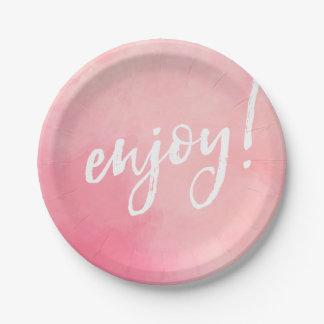 Enjoy party plate pink watercolour handwritten