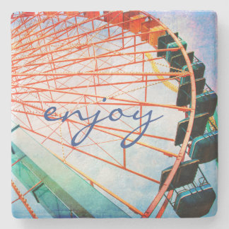 """Enjoy"" Quote Colorful Carnival Ferris Wheel Photo Stone Coaster"