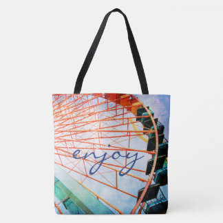 """Enjoy"" quote colorful carnival ferris wheel photo Tote Bag"
