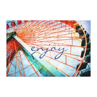 """Enjoy"" Quote Giant Carnival Ferris Wheel Photo Canvas Print"