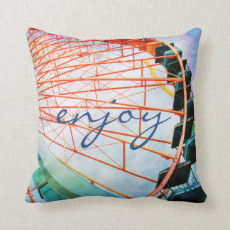 """Enjoy"" Quote Huge Fun Carnival Ferris Wheel Photo Cushion"