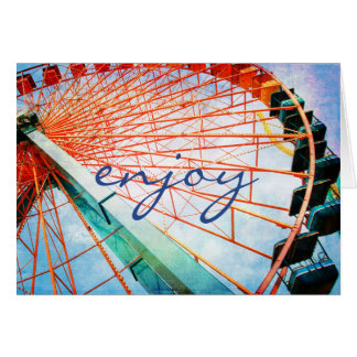 """Enjoy"" quote red ferris wheel photo blank inside Card"