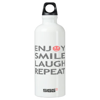 Enjoy smile laugh repeat - black and red. water bottle