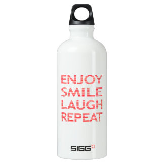 Enjoy smile laugh repeat - red. water bottle