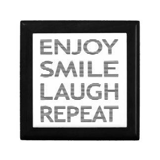 ENJOY SMILE LAUGH REPEAT - strips-black and white. Gift Box