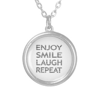 ENJOY SMILE LAUGH REPEAT - strips-black and white. Silver Plated Necklace