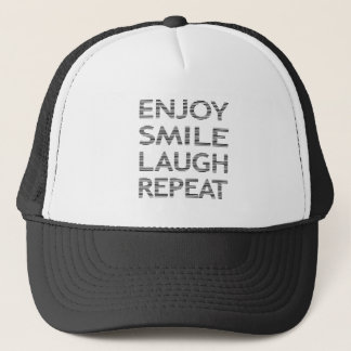 ENJOY SMILE LAUGH REPEAT - strips-black and white. Trucker Hat