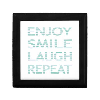 ENJOY SMILE LAUGH REPEAT - strips - blue and white Gift Box