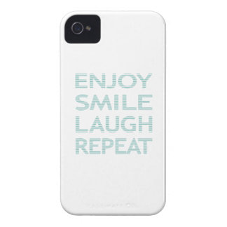 ENJOY SMILE LAUGH REPEAT - strips - blue and white iPhone 4 Cover