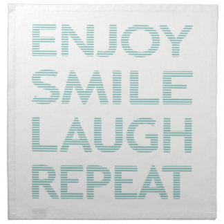 ENJOY SMILE LAUGH REPEAT - strips - blue and white Napkin