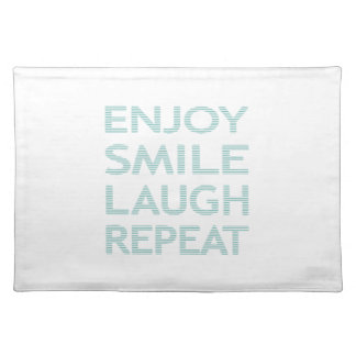 ENJOY SMILE LAUGH REPEAT - strips - blue and white Placemat