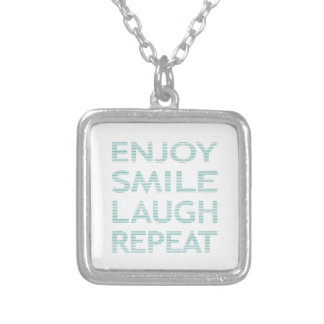 ENJOY SMILE LAUGH REPEAT - strips - blue and white Silver Plated Necklace