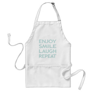 ENJOY SMILE LAUGH REPEAT - strips - blue and white Standard Apron