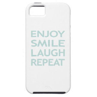 ENJOY SMILE LAUGH REPEAT - strips - blue and white Tough iPhone 5 Case