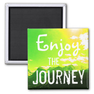 Enjoy the Journey Mountains with Yellow Sky Magnet