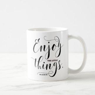 Enjoy The Little Things   Black Modern Calligraphy Coffee Mug