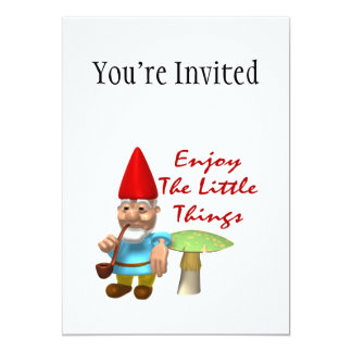 "Enjoy The Little Things Gnome 5"" X 7"" Invitation Card"
