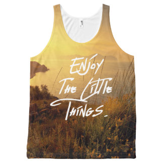 """""""Enjoy the little Things""""  Quote Sunset Sea View All-Over Print Singlet"""
