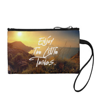 """""""Enjoy the little Things""""  Quote Sunset Sea View Coin Purse"""