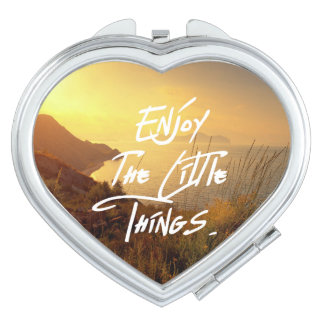 """Enjoy the little Things""  Quote Sunset Sea View Compact Mirror"