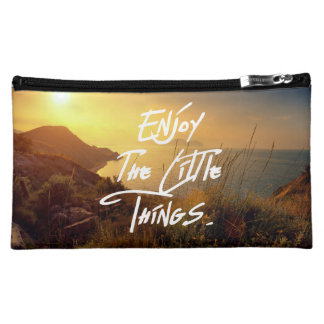 """""""Enjoy the little Things""""  Quote Sunset Sea View Cosmetic Bags"""